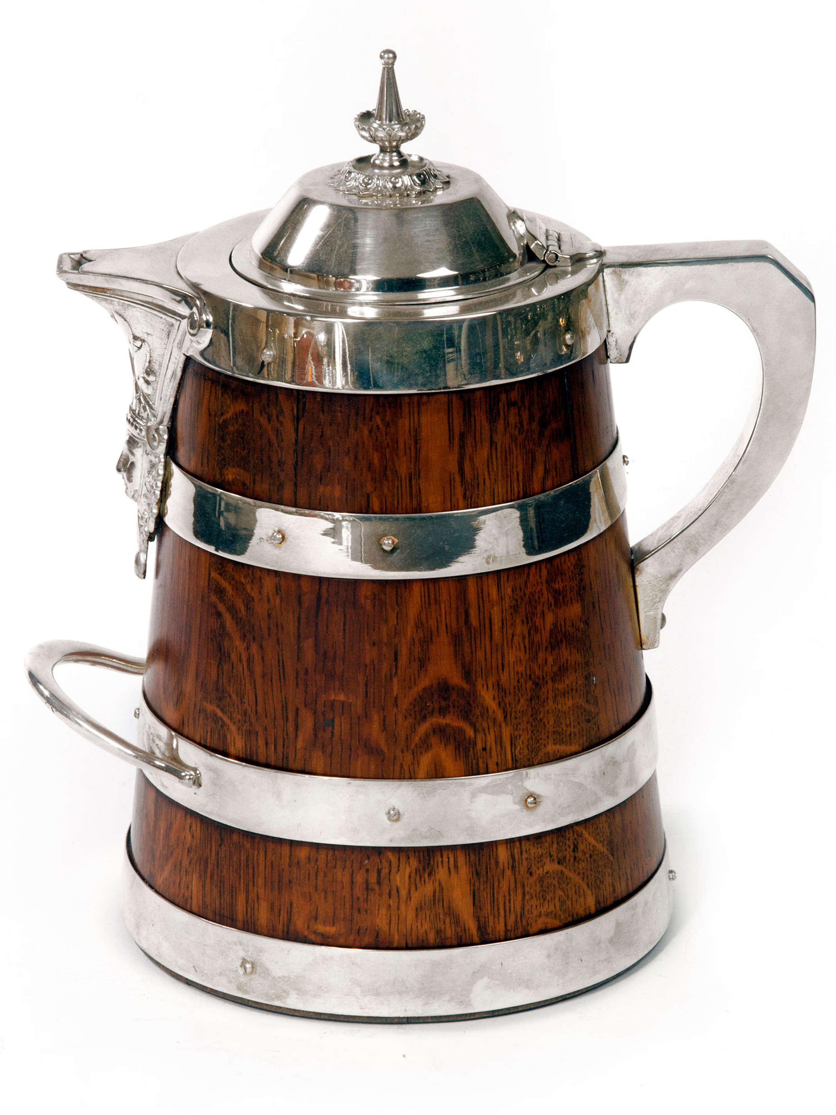 Large Oak and Silver Plate Beer or Water Jug