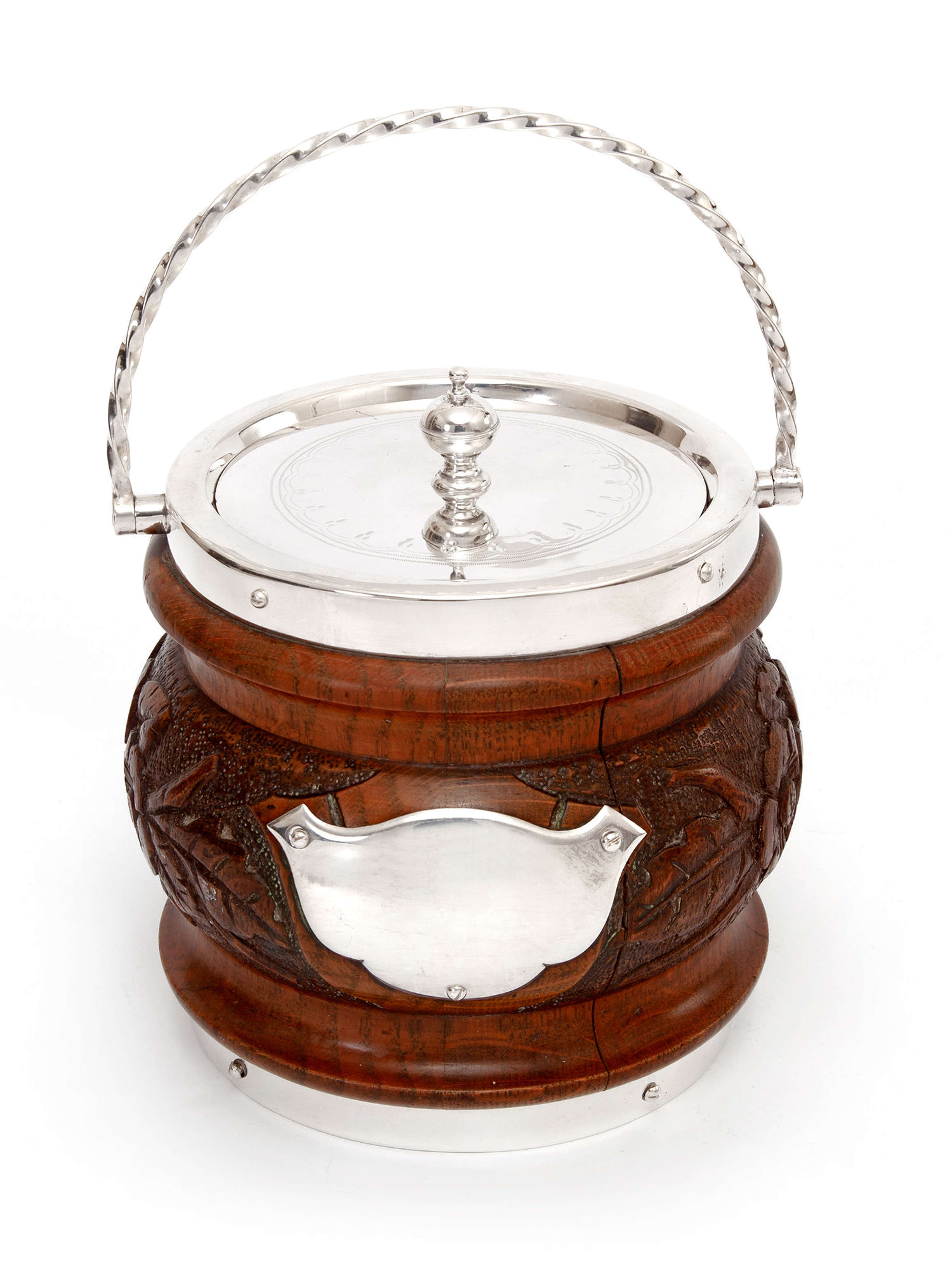 Antique Oak and Silver Plated Barrel with a White China Lining