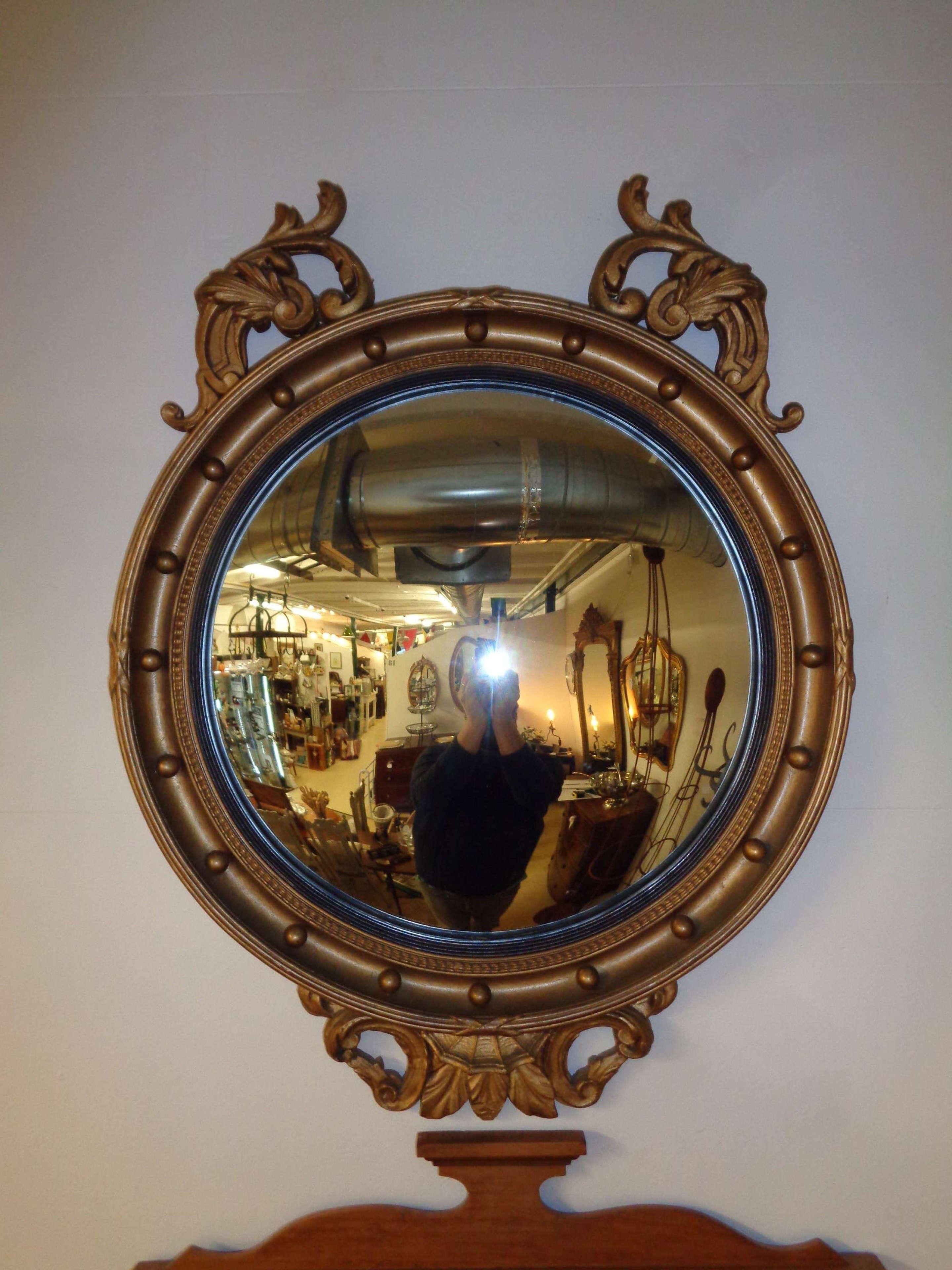 Antique Convex Gilt Round Mirror