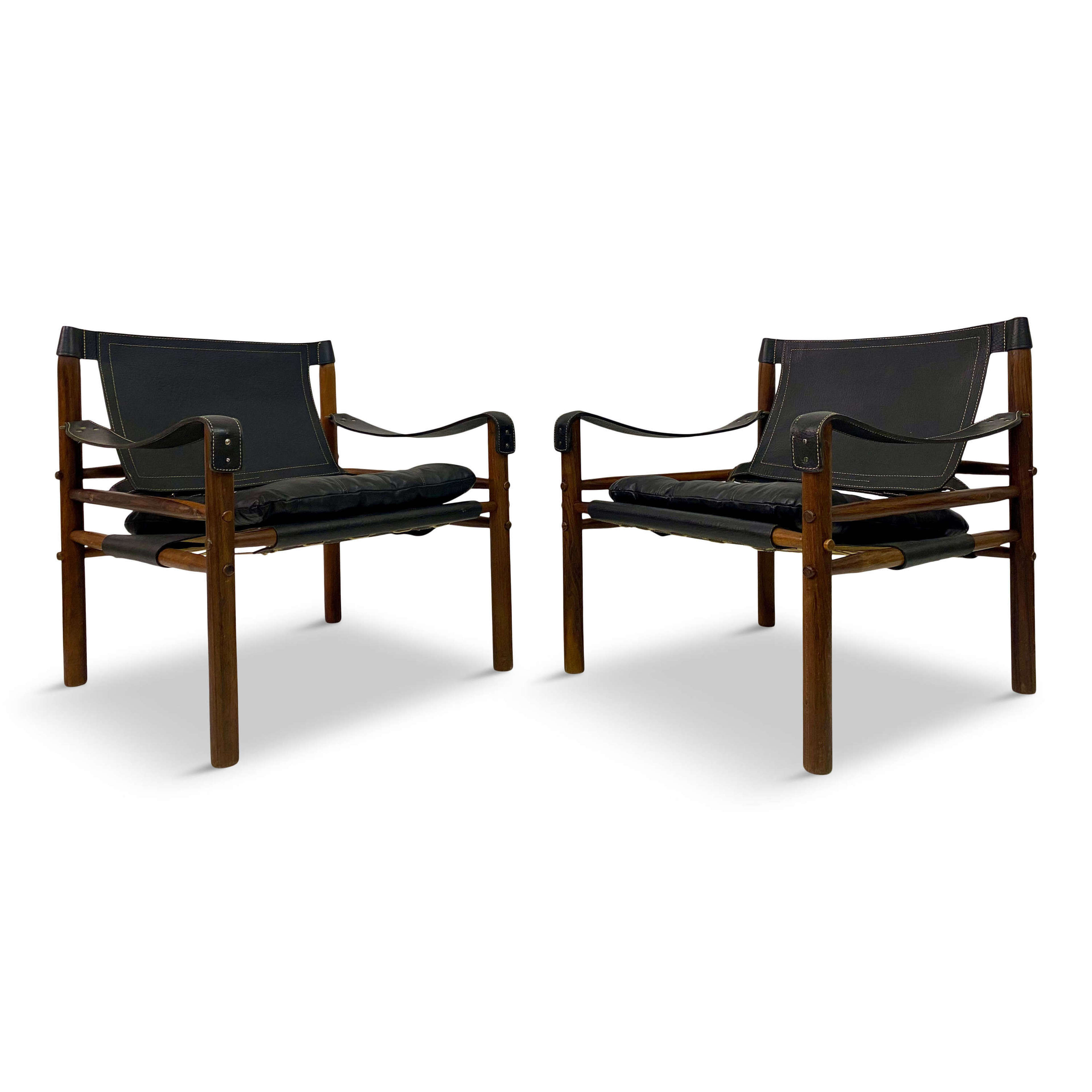 Pair of Leather and Rosewood Sirocco Safari Chairs by Arne Norell